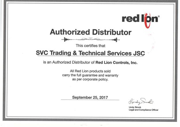 Thư ủy quyền SVC đại lý chính thức hãng Redlion tại Việt Nam